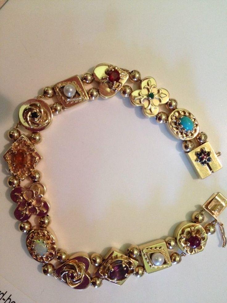 "14 K Gold & Gemstone Victorian Slide Bracelet, 28g, 7 1/2"" long"