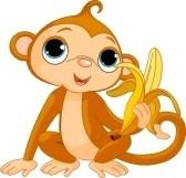 Illustratie van grappige aap met banaan stock photography