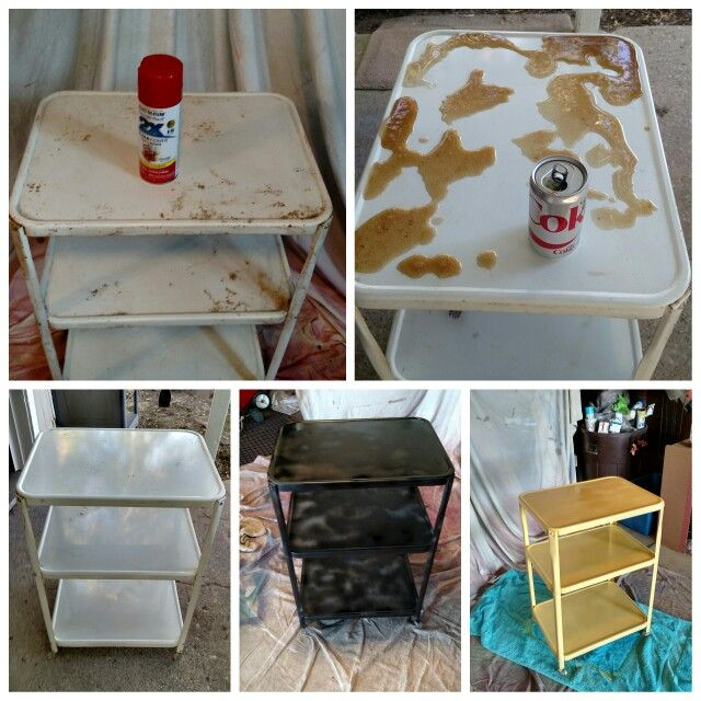 Rusty cart transformed using coke and Rustoleum Rust Reformer