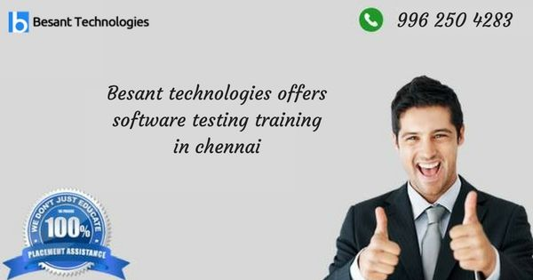 Besanttechnologies the best Software Testing Training Institute in Chennai. Manual Testing, Automation Testing and Performance Testing Training provided by industry top most experienced persons.