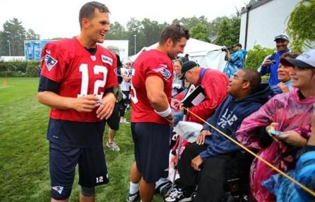 Quarterback Tom Brady joined Tebow when he met fans July 26, 2013.  #timtebow #patriots