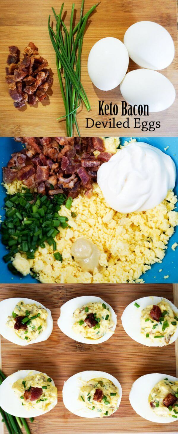 Simple Deviled Eggs with Bacon and Chives - Keto!