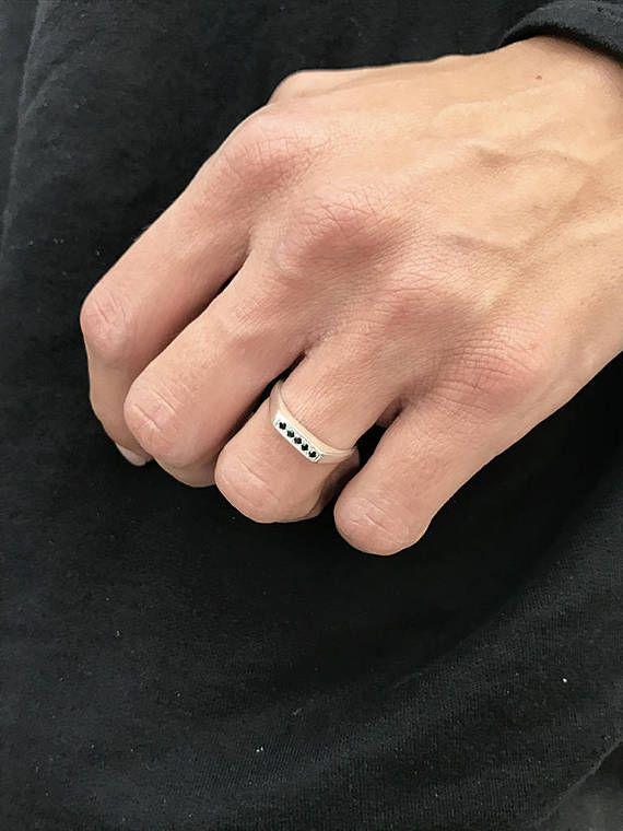 Anillo de diamante negro anillo de sello anillo de sello