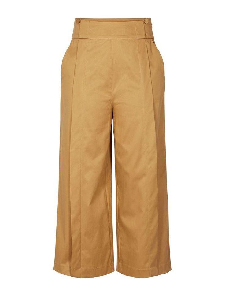 Numph Addah Pants in Kelp. Wide leg trousers.