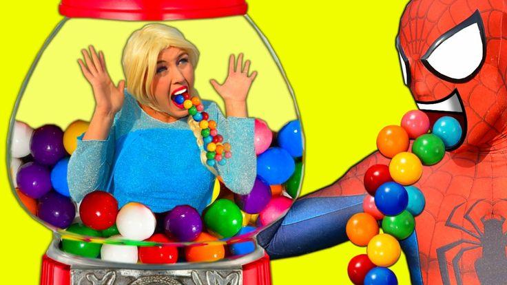 Frozen Elsa & Spiderman GUMBALL MACHINE! Bubble Gum Joker Bad Baby Joker...