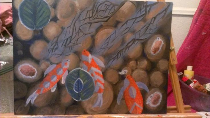 A coy fish painting done in acrylic