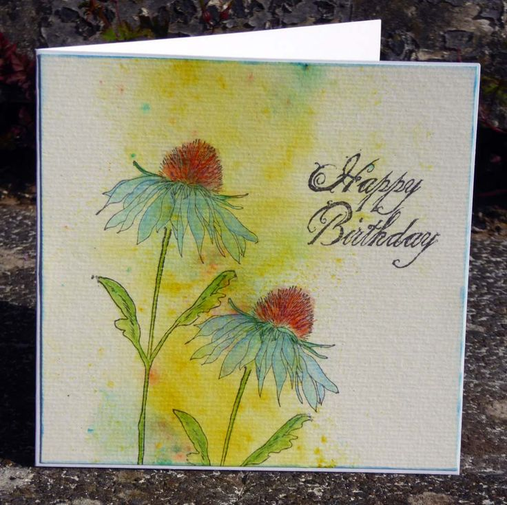 That's Blogging Crafty! - My tutorial for CAS card. Made with Tim Holtz Flower Garden stamp and Brusho Crystals