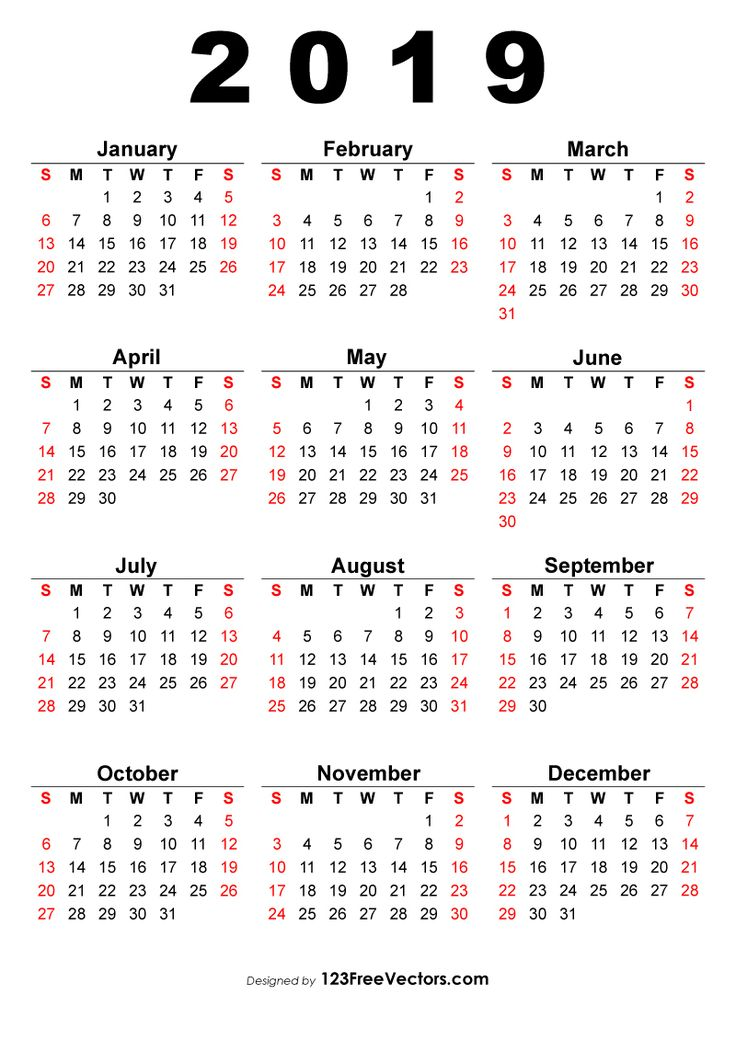 annual calendar 2019 template