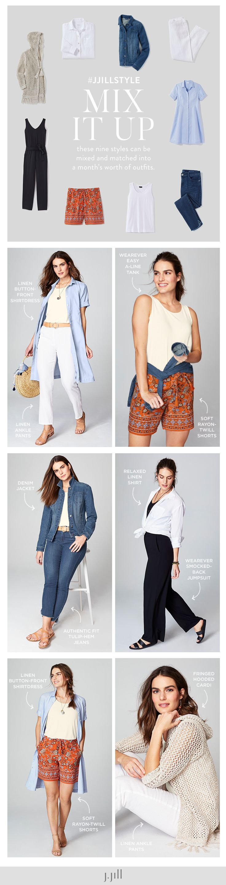 J Jill Mix It Up Mix And Match These 9 Styles For A Months Worth Of Outfits J Jill S Take On A Summer Capsule Summer Capsule Wardrobe Fashion Casual Outfits [ 2882 x 736 Pixel ]