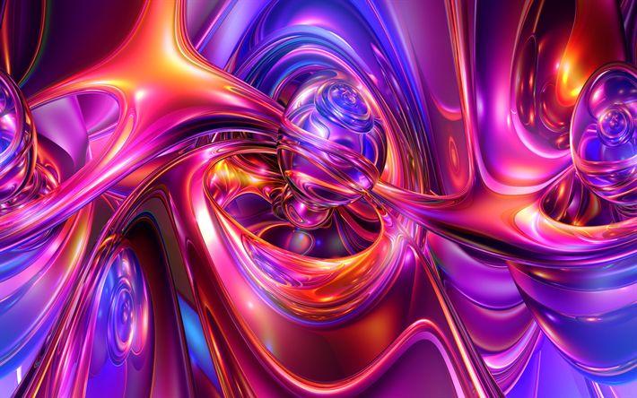 Download imagens fractais, resumo ondas, curvas, linhas, arte, criativo