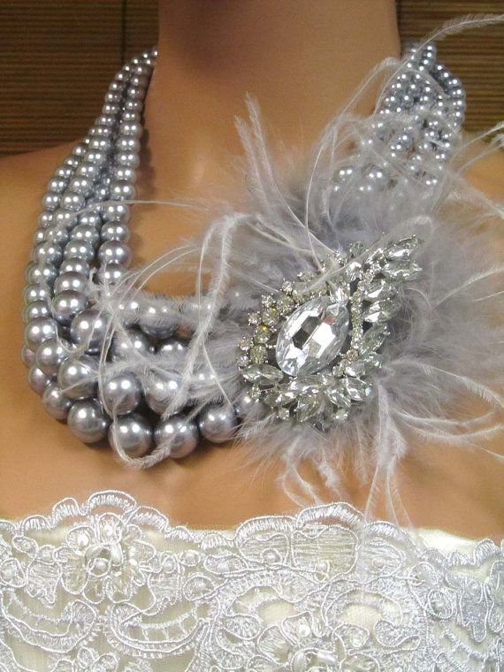 Victorian multi strand pearl, feather, Crystal necklace