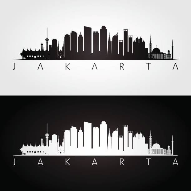 Jakarta Skyline And Landmarks Silhouette Black And White Design Black And White Design Mural Art Black And White Skyline Illustration