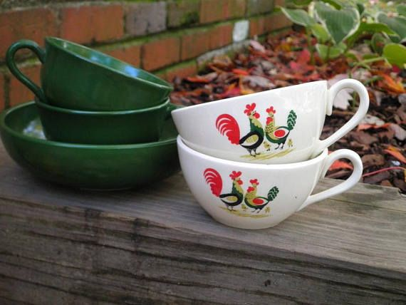 Vintage Hazel Atlas Ovide Green Milk Glass Cup & Bowl Set - Darling Chicken Rooster & Chick Tea Cups - Farmhouse Mug Collection on Etsy.
