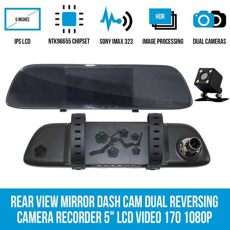 "Rear View Mirror Dash Cam Dual Reversing Camera Recorder 5"" LCD Video 170 1080P"