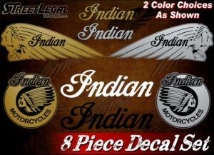 8 Piece Gold Indian Motorcycle Vinyl Sticker Set