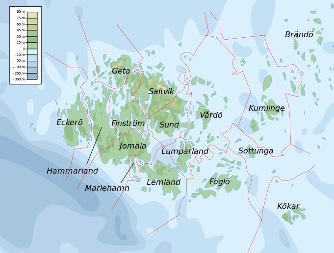 Topographic map of Åland by Mysid - Municipalities of Åland:  Brändö, Eckerö, Finström, Föglö, Geta, Hammarland, Jomala, Kumlinge, Kökar, Lemland, Lumparland, Mariehamn,Saltvik, Sottunga, Sund, Vårdö