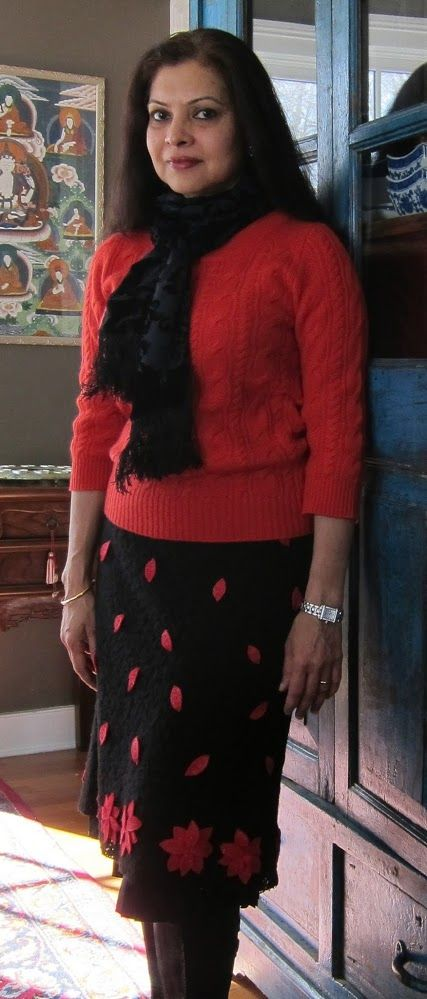 J. Crew cashmere sweater, British India silk lined velvet devore scarf, CK Calvin Klein wool lace skirt with pleated silk lining and Keen boots - 2018