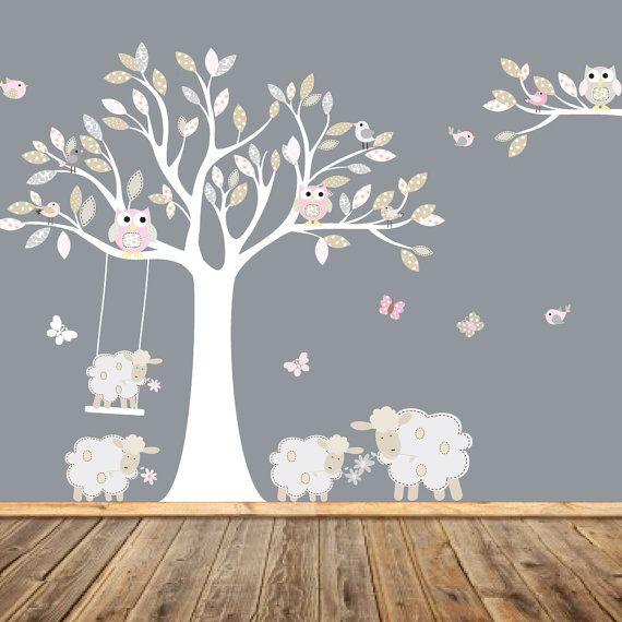 Nursery Wall Decal Lamb Wall Decal Children Tree By Wallartdesign Part 43
