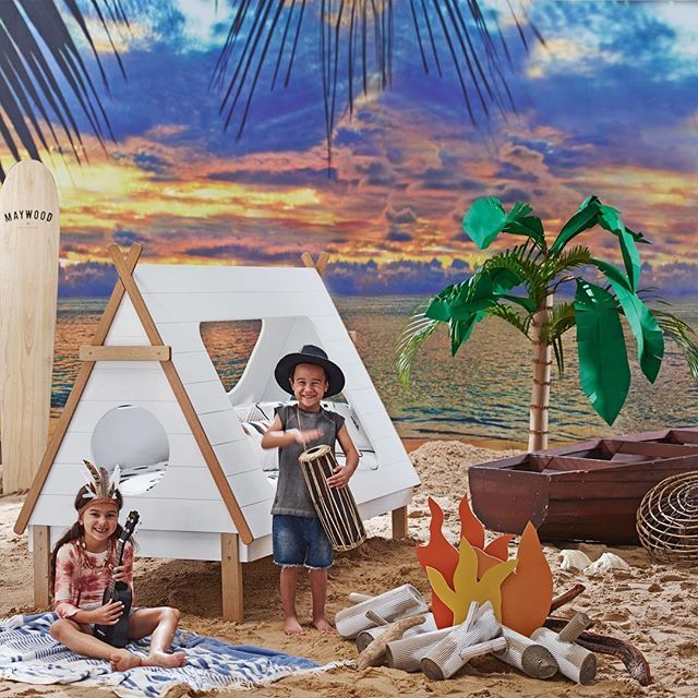 Create a gorgeous bedroom for your little one with the Tee Pee Kids Bed. This unique bed frame features a roofed canopy and a base that together resemble a Native American tee pee. This bed frame style is also available as a canopy or base only as well as a trundle bed. #Domayne #domayneaustralia #teepeebed #bedroomdecor