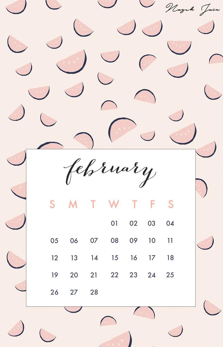 February - Free Calendar Printables 2017 by Nazuk Jain