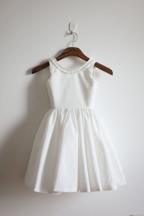 Vintage Inspired Ivory Cotton Flower Girl Dress Baby by autoalive
