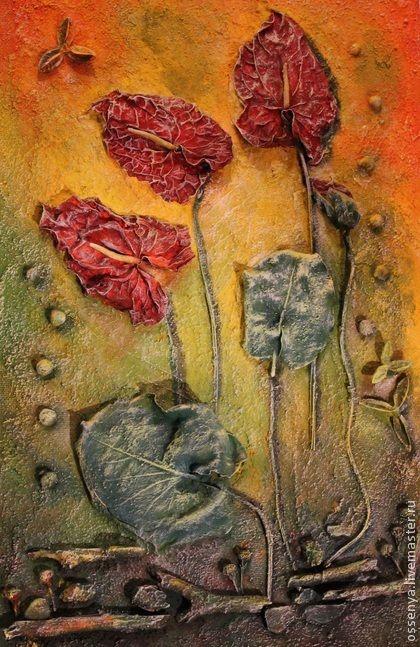 """Картины цветов ручной работы. Ярмарка Мастеров - ручная работа. Купить Коллаж """"Антуриумы"""". Handmade. Желтый, цветы, коллаж"""