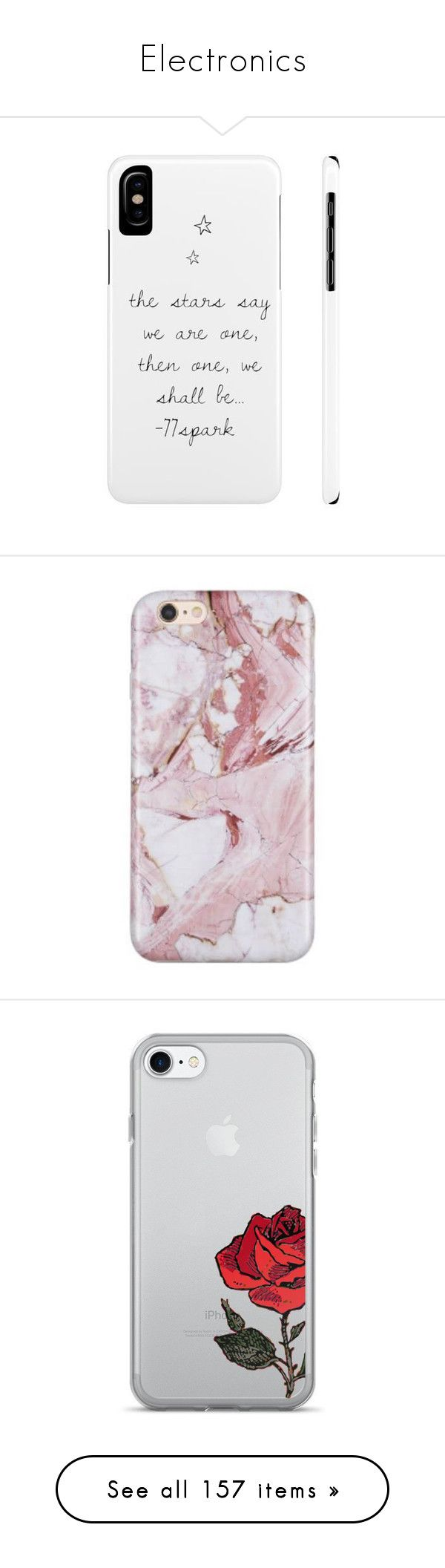 """""""Electronics"""" by grace-food-lover1 ❤ liked on Polyvore featuring accessories, tech accessories, phone cases, tech, phones, electronics, fillers, marble iphone case, iphone cover case and iphone sleeve case"""