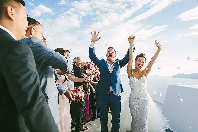 Just Married at Katikies The Hotel in Oia - by Stella And Moscha - Photography by Thanos Asfis & Yiannis Alefantou