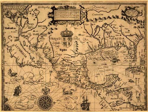 Old map of America - showing California, New Spain, Florida, and much more. Tattonus, 1600