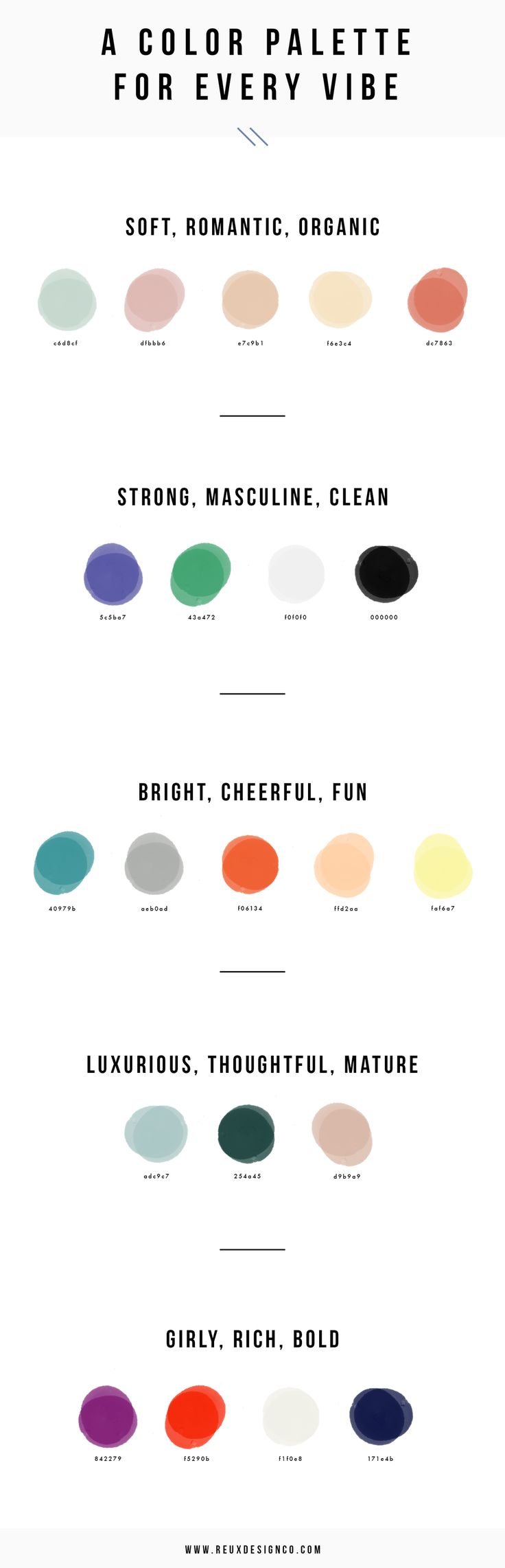 Color palette ideas | branding guide | Defining a Color Palette for Your Brand — Reux Design Co.