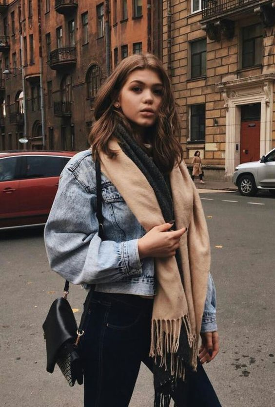 Oversized cosy scarf and denim jacket look, winter street style outfit inspo