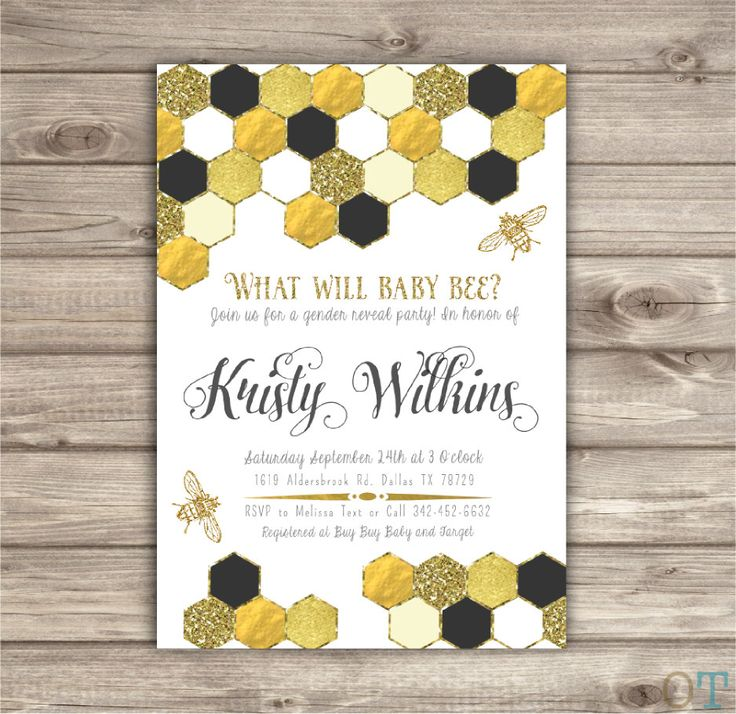 What will baby Bee? Gender reveal Party Invitations Mom to Bee Baby Shower Gold Glitter Invitation Reveal Baby Shower Surprise printable by cardmint on Etsy (null)