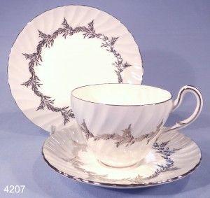 Foley China Silver Fern Vintage Bone China Tea Cup, Saucer and Tea Plate Trio