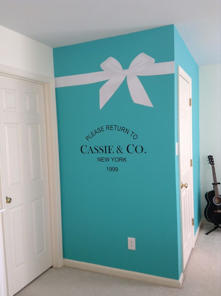 My daughter Cassie's new Tiffany inspired room. Wall decals.