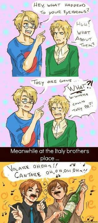 """You look so silly with your """"moo-staaash""""! :p #Hetalia #Italy #humor"""