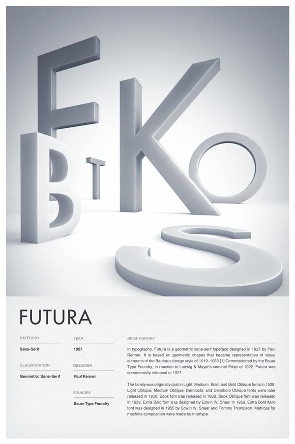 3D Typographic Poster Design.    Independent multidisciplinary design studio Woodhouse created these stunning type posters of 6 iconic fonts such as: Trade Gothic, Helvetica, Futura, DIN, Clarendon, and Bodoni. The typefaces are depicted as 3D letters while the description below is clean and simple. - #typography #type #futura