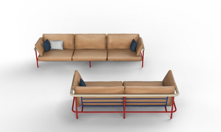 La Chance X-Ray Sofa. Design by Alain Gilles. Full Grain Leather sofa with detailed back.
