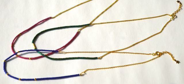 Short Japanese Miyuki bead necklaces with 18K gold findings and 18K gold plated chain.