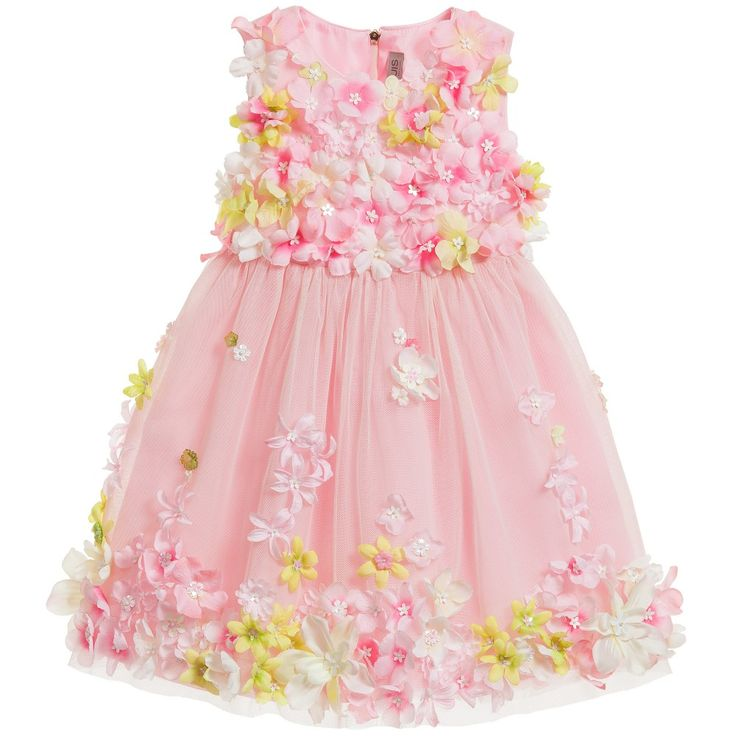 QUIS QUIS Pink Tulle Dress with Floral Applique