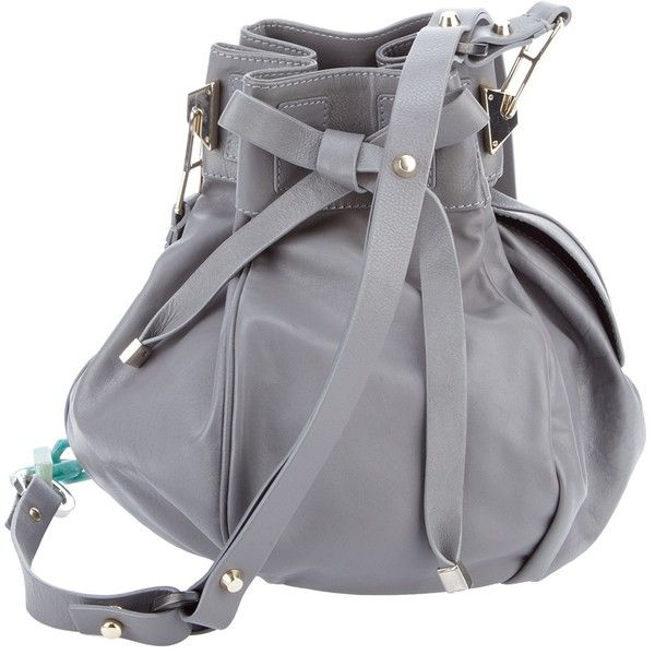 PAURIC SWEENEY bucket bag (£759) found on Polyvore- Grey leather bucket bag from Pauric Sweeney featuring a leather drawstring top, an adjustable shoulder strap with blue chain link detailing and an internal leather zipped pouch pocket on a strap.