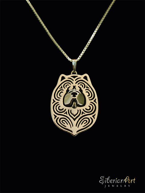 Chow Chow collier et pendentif en or par SiberianArtJewelry