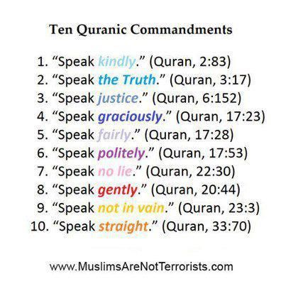 Learn to always Speak : Kindly, the Truth, justice, graciously, fairly, politely, no lie, gently, not in vain, straight. Verses from the Holy Quran