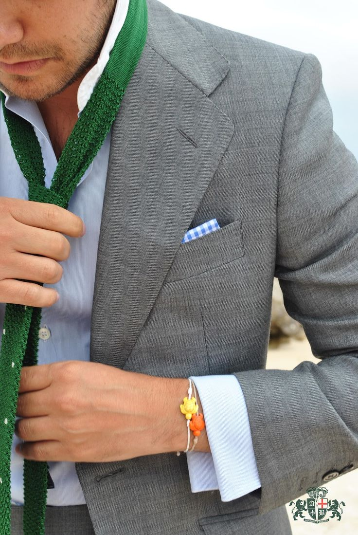 """From """"Absolute Bespoke Blog"""": Like the light blue with the gray suit and green tie..."""