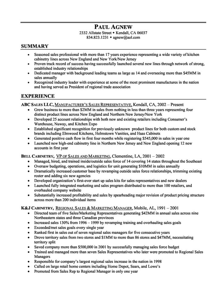20 best Resume Examples images on Pinterest Resume examples - sales resume example