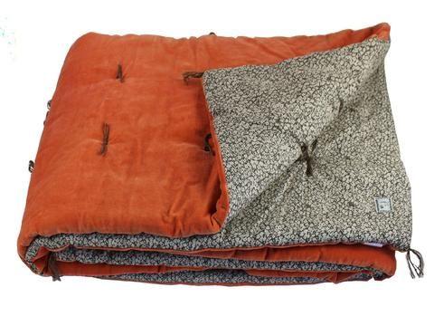 En-fil-dindienne - Plaid velours jete lit Tosca - Orange - 160x160 cm