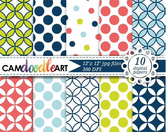 Digital Paper Pack Lime Green Coral Pink Navy by CamDoodleArt