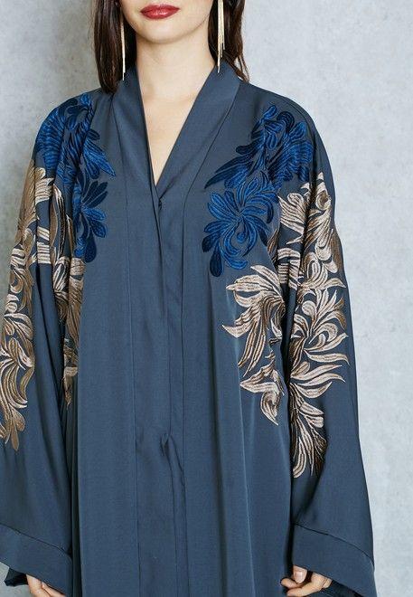 Shop Hayas Closet grey Embroidered Shoulder Cape Abaya for Women in Saudi