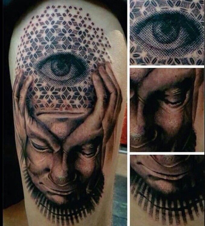 Third Eye Tattoo: Surreal Pixel Third Eye Tattoo