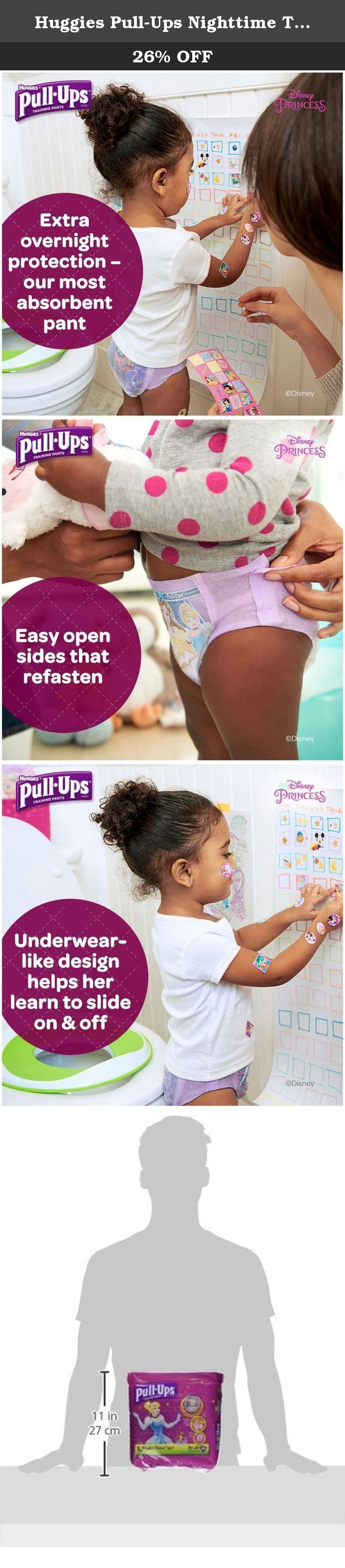 Huggies Pull-Ups Nighttime Training Pants - Girls - 3T-4T - 20 ct. Rest easy, knowing Night*Time Training Pants are as absorbent as the leading diaper, helping keep toddlers dry through the night.Pull-Ups Night*Time Training Pants are the most absorbent training pants, giving mom the confidence to stay consistent with potty training, around the clock.