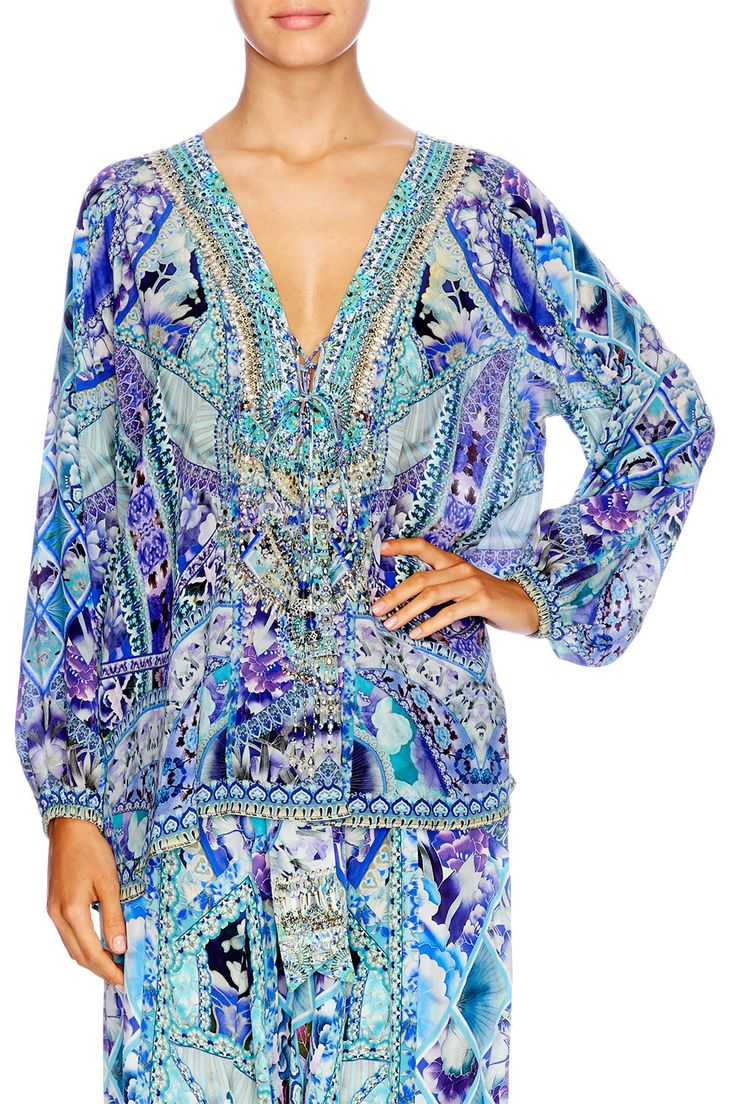 Camilla - The Blue Market / Lace Up Blouse